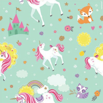MAGICAL UNICORN ROLL OF GIFT WRAP ~ Birthday Party Supplies Paper Decorations