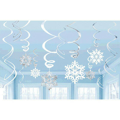 Snowflakes Frozen Hanging Swirl Decorations ~ Holiday & Birthday Party Supplies - Snowflake Hanging Decorations