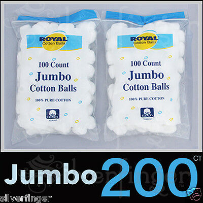 200 JUMBO � PURE 100% COTTON BALLS � Makeup Cosmetics Nail Polish Baby First Aid