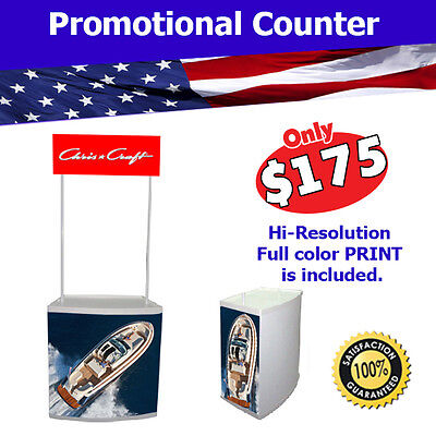 Counter Portable Trade Show Booth Kiosk Reception Sampling Table Free Graphics