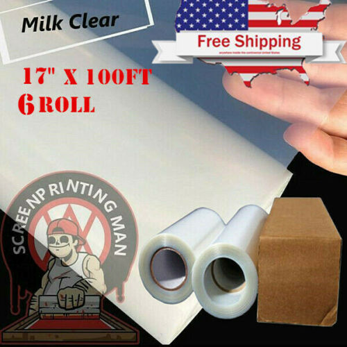 "6Rolls- 17""x100FT Waterproof Inkjet Milky Transparency Film Screen Printing Film"