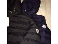 Moncler Black & Navy Puffer Coats, S & M