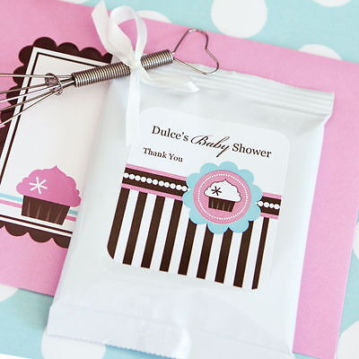 72 Personalized Cupcake Party Theme Hot Cocoa Mix Pouches Baby Shower Favors  (Hot Chocolate Party Favor)