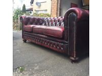 Chesterfield oxblood sofa and armchair