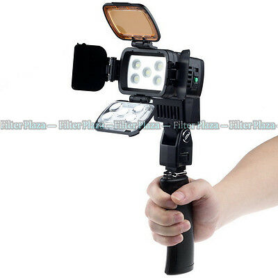 PRO 5pcs LED Camera Camcorder DV Video Dimmer Light Lamp LED-VL002B +Handle Grip