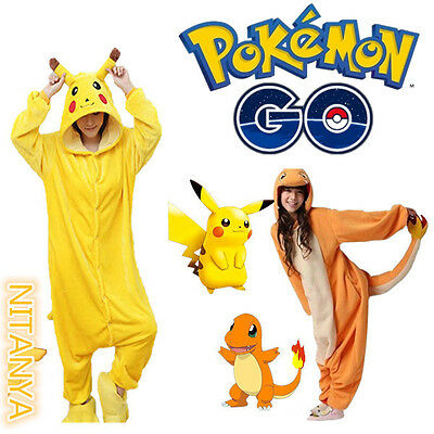 Adult Kids Pyjamas Pokemon Pikachu Charmander Animal Pajamas Onesie1 Costume  - Kids Pikachu Costume