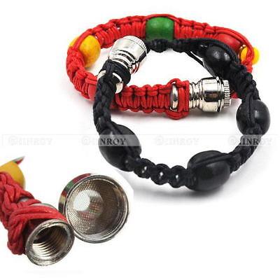 Metal Bracelet Smoke Smoking Tobacco Pipe Jamaica Rasta Portable Knitting Rope