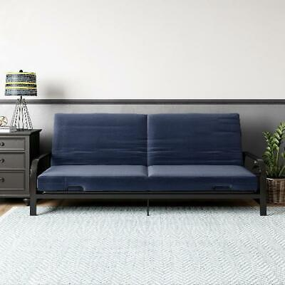 Contemporary Black Metal Arm Futon Frame with Blue Mattress Quick Assemble