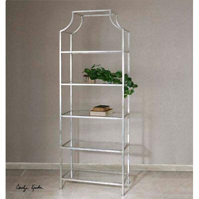 Contemporary Etagere (5 Shelf Silver Metal & Glass Etagere Contemporary Decor Display )