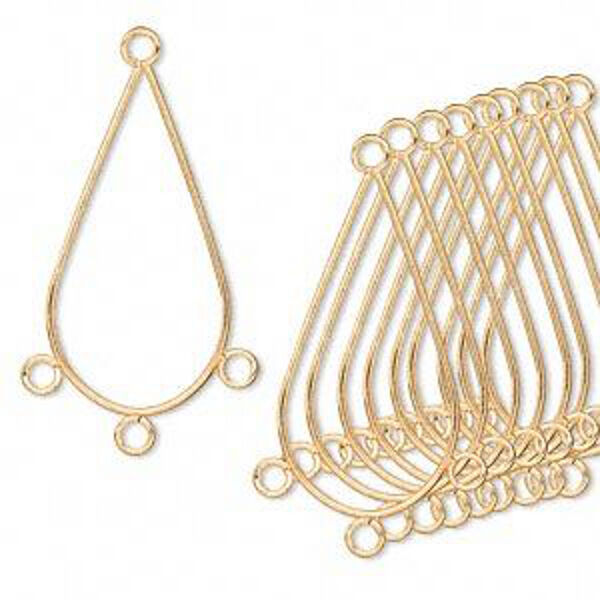 Chandelier Finding Gold Teardrop Hoop Loops Pendant Jewelry Lot of 12