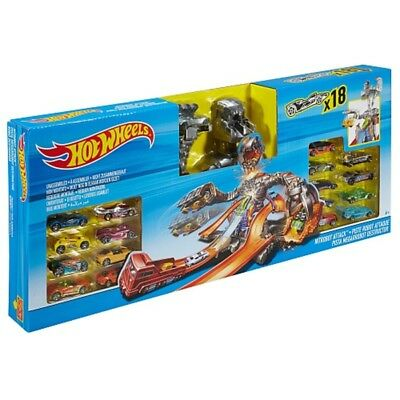 Hot Wheels Nitrobot Attack Deluxe Set Includes 18 Cars NEW Boxed Boys Toys