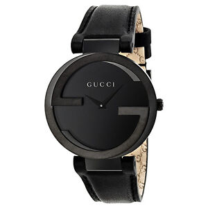 Gucci Interlocking G Black Dial Black Leather Strap Unisex Watch YA133302