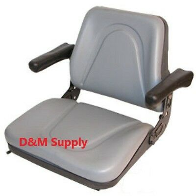 Gray Kubota Skid Steer Bobcat Universal Tractor Seat With Arms