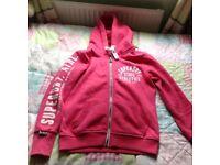 Super dry pink zip sweatshirt
