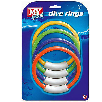4 UNDERWATER DIVE RINGS SWIMMING DIVING SINKING POOL TOY GAMES FUN CHILDRENS NEW