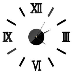 Frameless Wall Clock 3D Adhesive Black Vintage Roman Numeral Number Home Decor