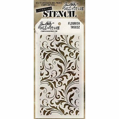 Tim Holtz Layering Layered Stencil FLOURISH Template Pattern  Scroll