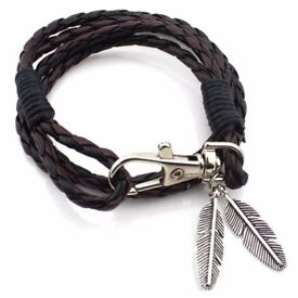 Feather PU Leather Braid Wrap Bracelet