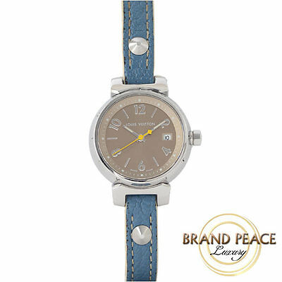 Louis Vuitton Tambour ladies triple coiled gray dial Panel 3 heavy leather