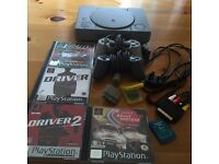 SONY PLAYSTATION 1 WITH 2 OFFICIAL CONTROLS 2 MEMORY CARDS ALL LEADS. AND 4 GAMES £35