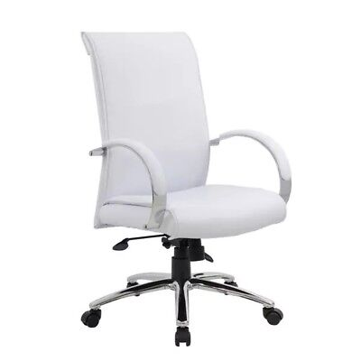 Boss Caresoft Executive Chair Office Executive Lumbar White Pu Leather Pre-owned