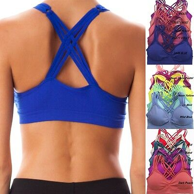 Seamless Caged Criss Cross Strappy YOGA Workout SPORTS BRA Top Bra Bustier Pads  Criss Cross Sports Bra