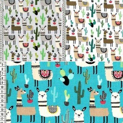 ancy Llama Alpaca Animals and Cactus Cacti 150cm Wide (Fancy Fabric)