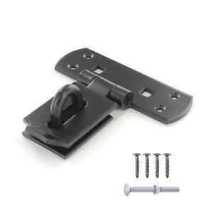 VERTICAL LOCKING HASP AND STAPLE Heavy Duty Bar Shed Door Gate BLACK 150mm / 6