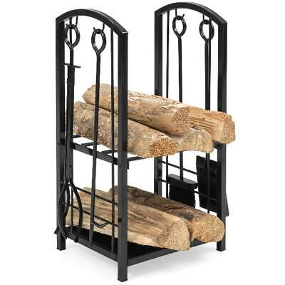 Best Choice Products 5-Piece Firewood Log Rack Holder Tools Set for