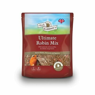 Walter Harrisons ULTIMATE ROBIN MIX Wild Bird Sunflower Hearts Mealworm Seed 2kg