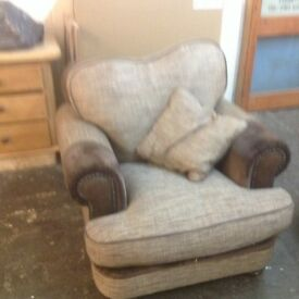 Brand new G plan leather and tweed armchair