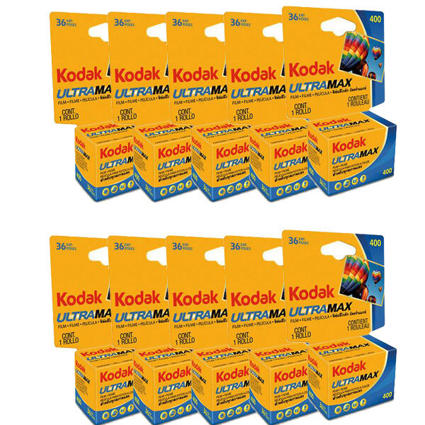 10 Rolls Kodak UltraMax GC ISO 400 36 Exposure 35mm Color Print Film