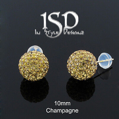 14k Yellow Gold Womens 10mm Champagne Austrian Crystal Ball Studs