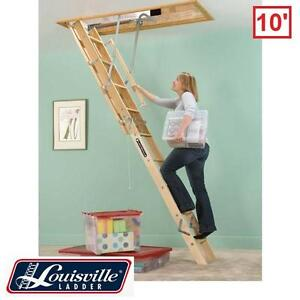 """NEW LOUISVILLE 10' ATTIC LADDER - 121921966 - CEILING LADDERS 10' HEIGHT 30"""" x 60""""  BUILDING MATERIALS ACCESS LADDERS"""