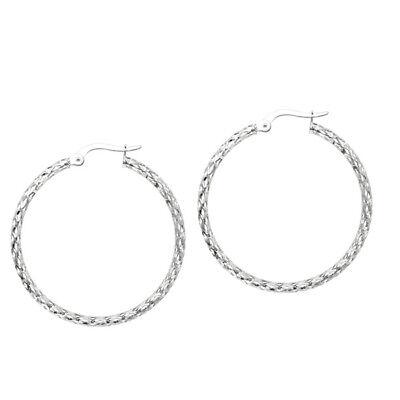 (Italian Filigree Cut Out Hoop Earrings Real 14K White Gold 1 3/4