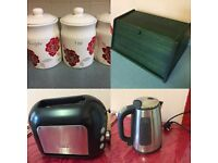 Toaster, kettle, bread bin & Tea, Coffee, Sugar jar.