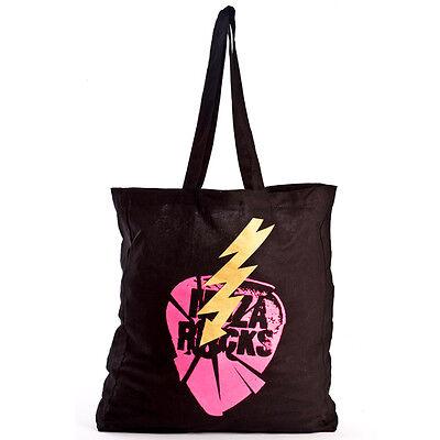 Ibiza Rocks Tote Bag Black Cotton Shopper Smashed Logo Plectrum Reusable Sack