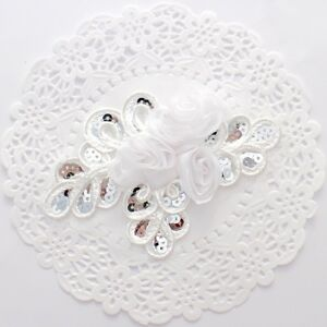 1 white chiffon sequin flower applique - for millinery , hair and crafts