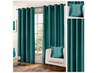 Teal coloured faux silk curtains. Similar colour as photo. 2 pairs 66 x 90 drop for full gather.