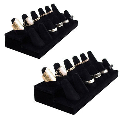 2pk Black Velvet Finger Ring Display Jewelry Organizer Showcase Stand Lot