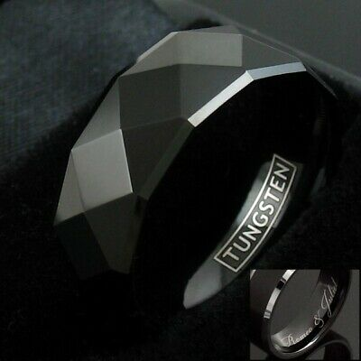 8mm Tungsten Black Multi-Faceted Wedding Band Ring Men's Jewelry ()