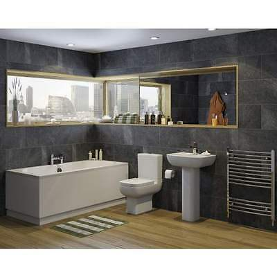 Modern Bathroom Suite Double Ended 1700 x 750mm Bath Toilet WC Basin Wash Sink