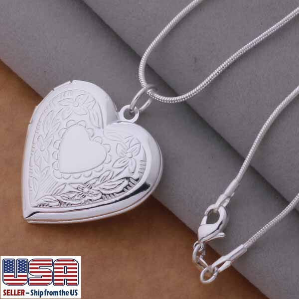 "Jewelry - Wholesale 925 Sterling Silver Heart Locket Photo Pendant Necklace 18"" Valentines"