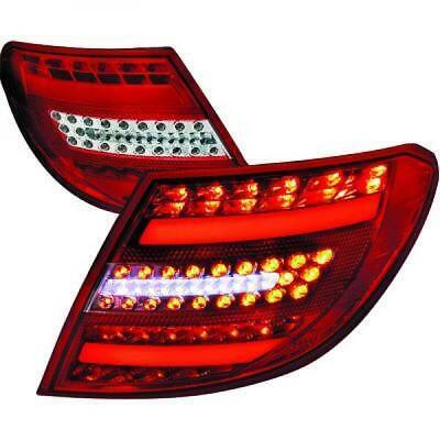 Rückleuchten Set für Mercedes C-Klasse W204 07-11 LED Klarglas/Rot-Chrom Limo