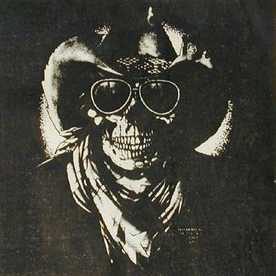 SKULL COWBOY WITH HAT AND GLASSES FABRIC WALL TAPESTRY HANGING #794 HUGE FLAG