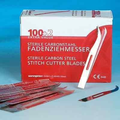 Fadenziehmesser einzeln steril 100+2 Stück Carbonstahl Fäden ziehen #5053