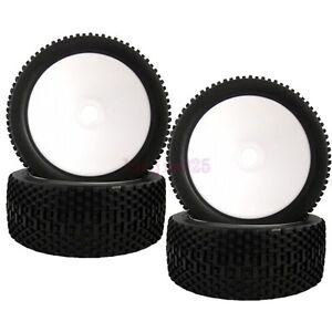 4PCS RC 1/8 Off-Road Car Buggy Foam Rubber Tyre Tires & Wheel Rim white 81W-801