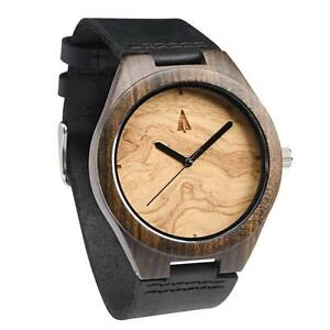 Tree Hut Ebony / Olive Wooden Watch with Black Leather Strap
