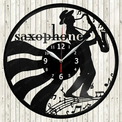 Saxophone Music Vinyl Record Wall Clock Decor Handmade 1784