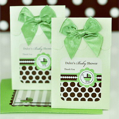 24 Personalized Green Baby Shower Theme Gender Neutral Candy Boxes Bags Favors
